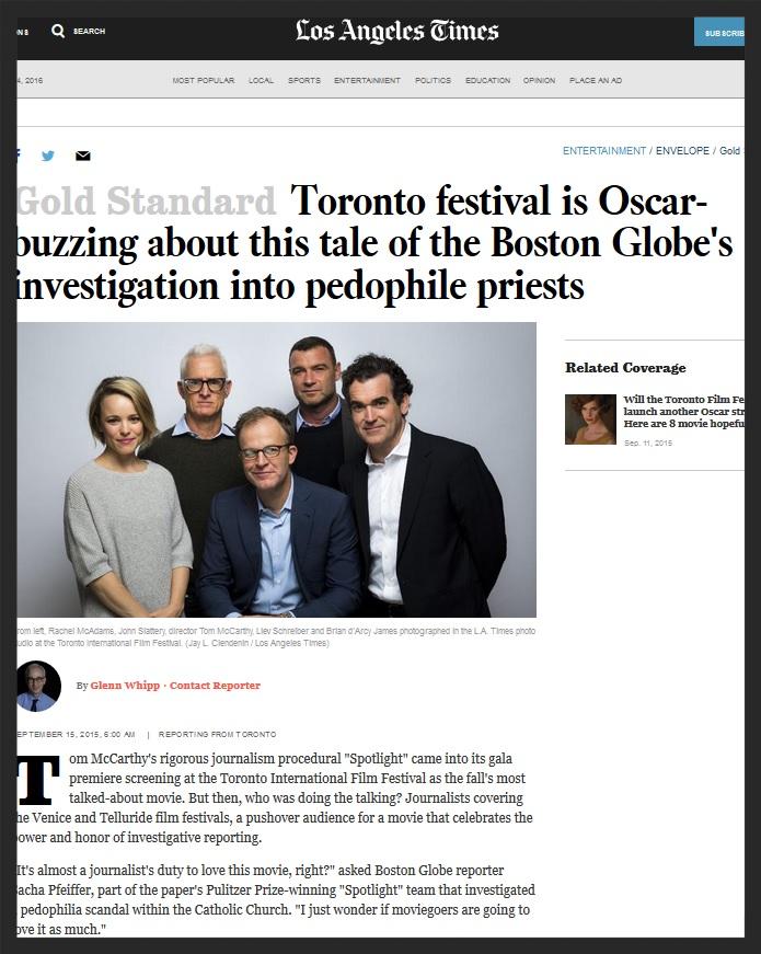Los Angeles Times - Toronto Film Festival
