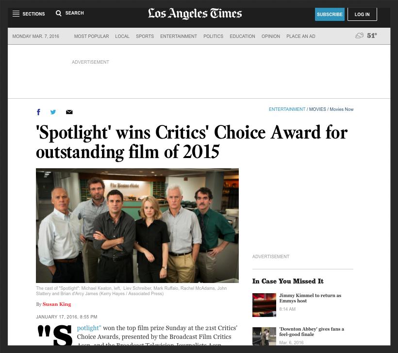 Los Angeles Times - Critics' Choice Award
