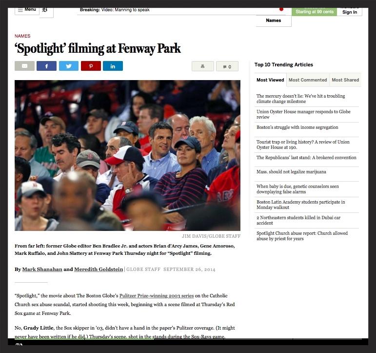 The Boston Globe - 'Spotlight' Begins Filming