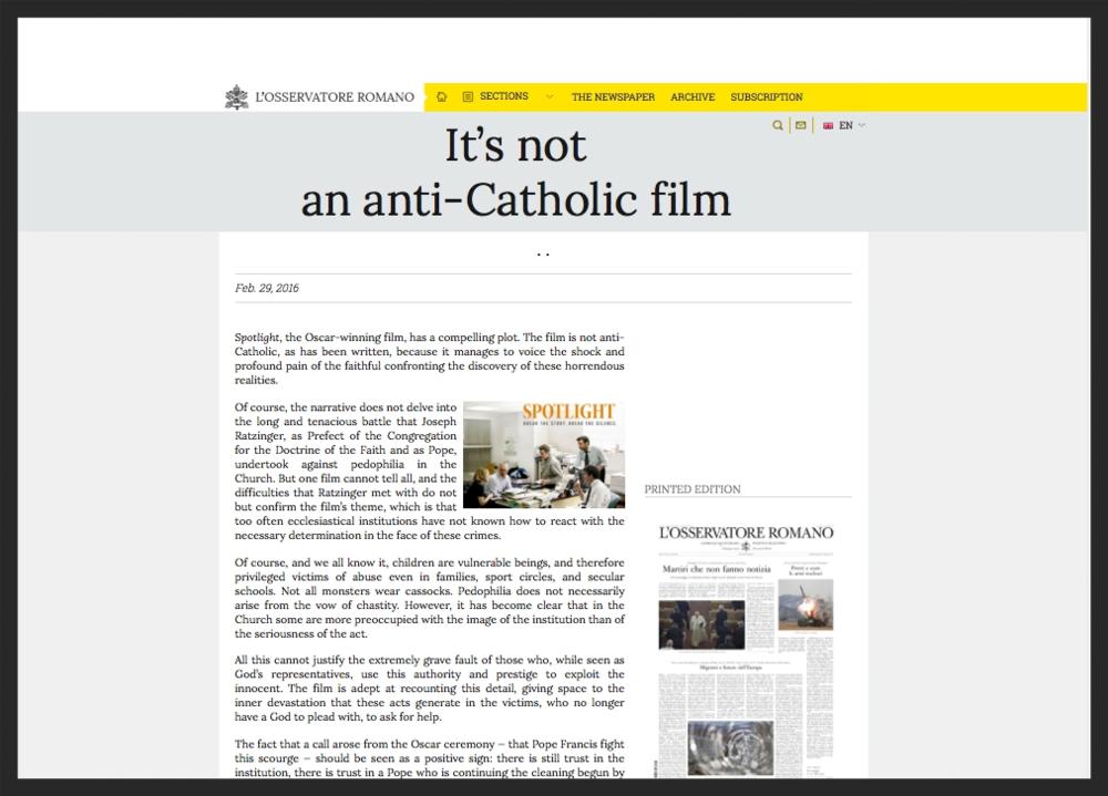 Vatican Newspaper - It's Not Anti-Catholic