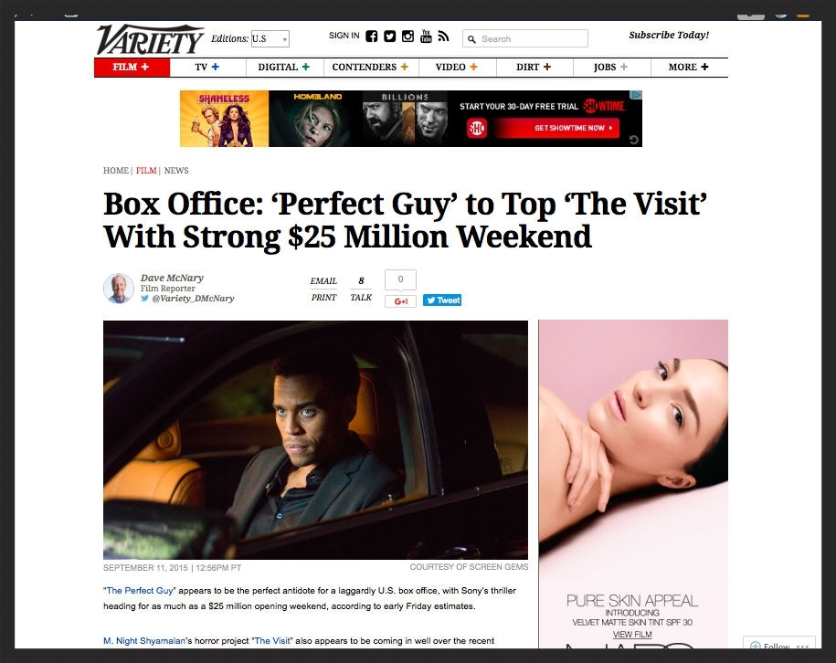 Variety - 'Perfect Guy' Tops Box Office
