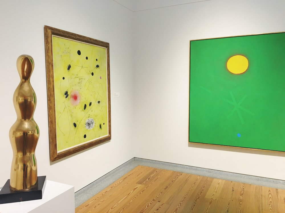 (left) Joan Miró,  The First Spark of Day III , 1966   (right) Adolph Gottlieb,  Green Ground , 1968