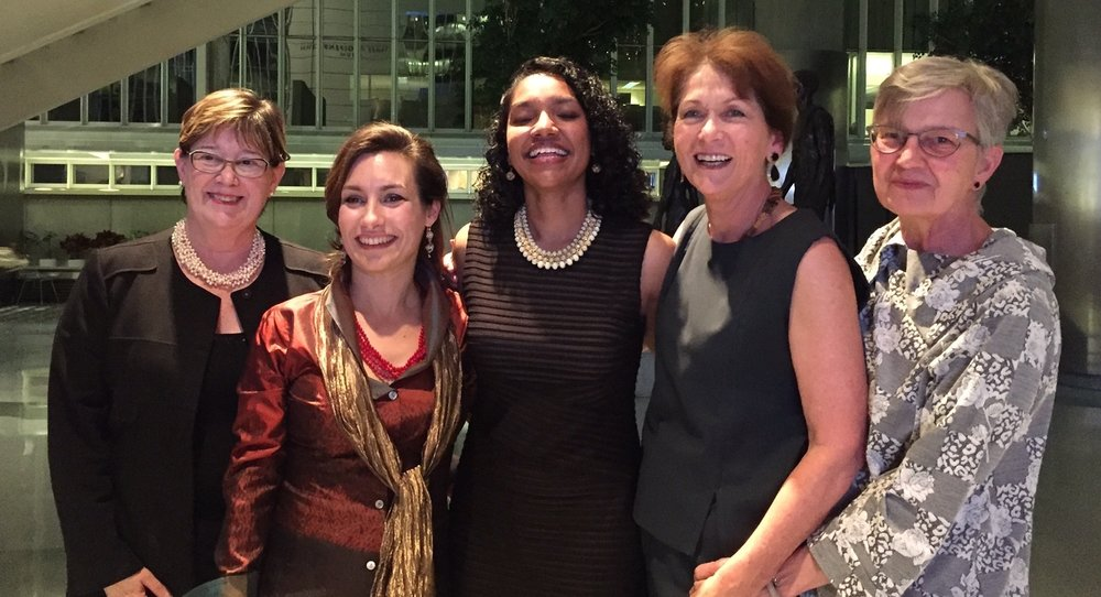 Left to right: Kathleen Zeifang, VP of Develeopment at Trinity; Monica Vidili, MMEG President; Sadhana Singh; Madeleine de Kock, MMEG VP; and Hope Phillips, US-Canada Selection Committee Chair