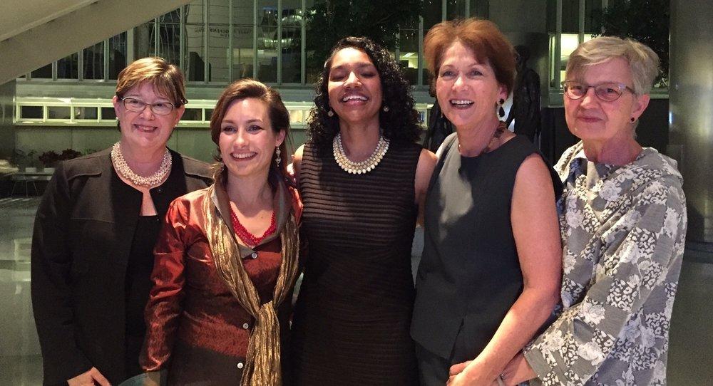 Left to right: Kathleen Zeifang, VP of Develeopment at Trinity;Monica Vidili, MMEG President;Sadhana Singh;Madeleine de Kock, MMEG VP; and Hope Phillips, US-Canada Selection Committee Chair