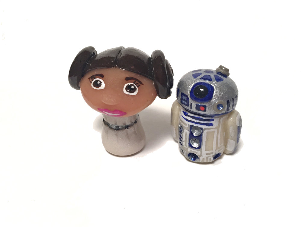 Princess Leia & R2D2 Pop Culture 'Shroom Sculptures