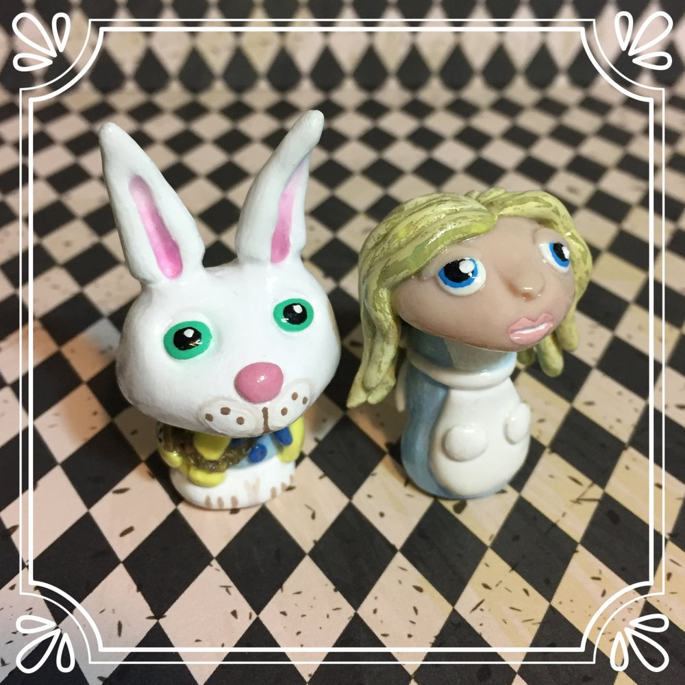 Alice & The White Rabbit 'Shroom Sculptures
