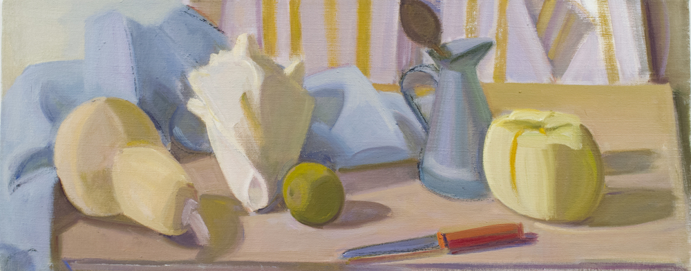 "Butternut and Striped Squash w/Shell and Measuring Pitcher, oil on canvas, 10""x25"""