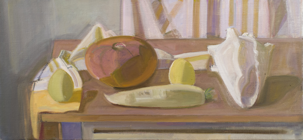 "Cabocha and Daikon with Shell, oil on canvas, 14""x30"""