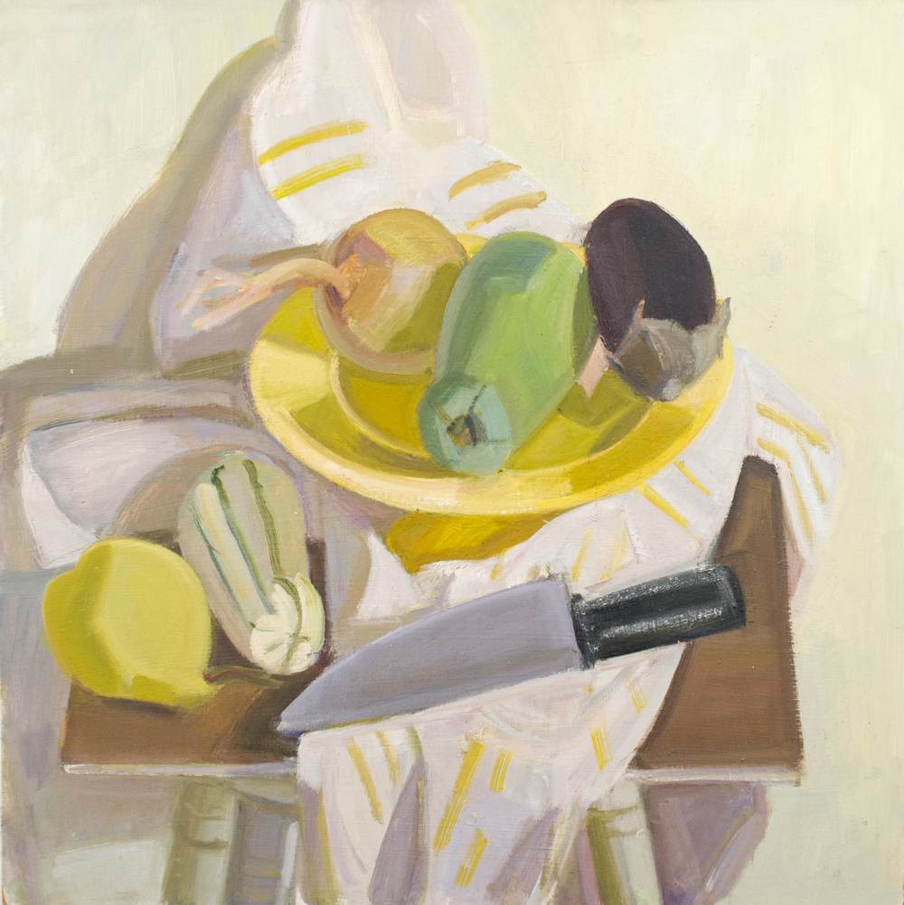 "Cake Plate with Striped Squash and Bitter Gourd, oil on canvas, 20""x20"""