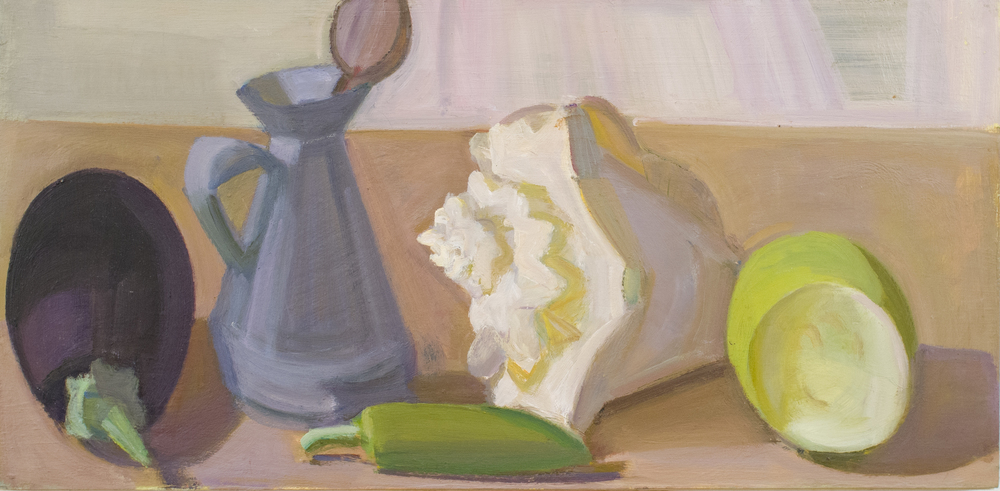 "Eggplant with Shell and Halved Bitter Gourd, oil on panel, 9""x18"""