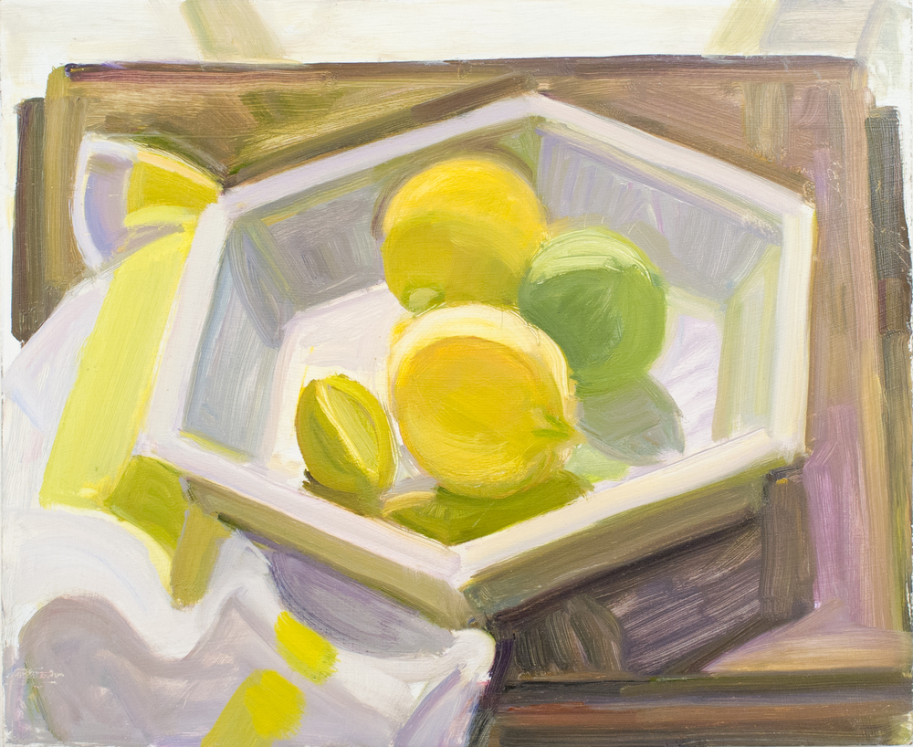 "Hexagonal Pie Plate w/Lemons and Lime, Yellow Striped Napkin, oil on panel, 10""x12"""