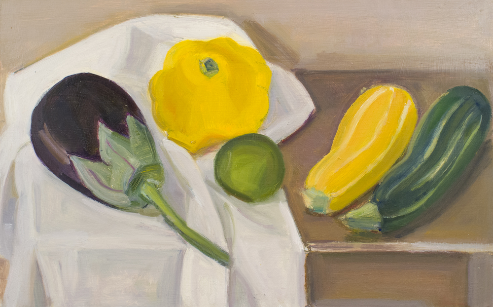 "Eggplant, Pattypan and Two Striped Squash, Green and Yellow, with Lime, oil on panel, 10""x16"""