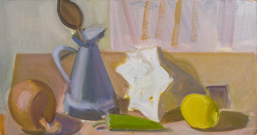"Onion, Measuring Pitcher and Trowel, with Shell and Lemon, oil on panel, 8.5""x16"""