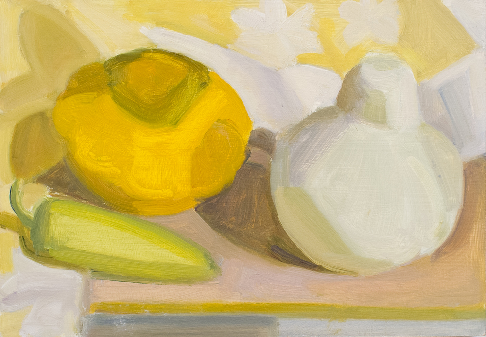 "Two Squashes and a Green Pepper, oil on panel, 7""x10"""