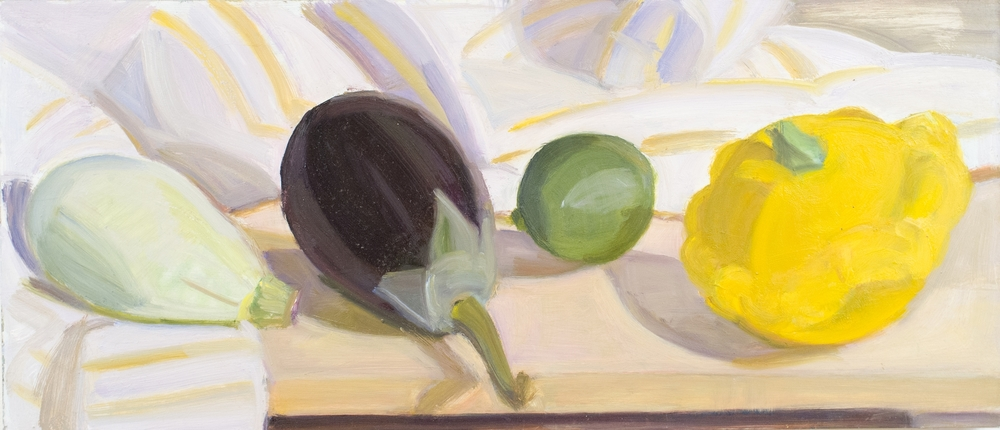"Pale Green Tiger Squash, Eggplant, Lime and Plump Pattypan, o-panel. 8""x18"""