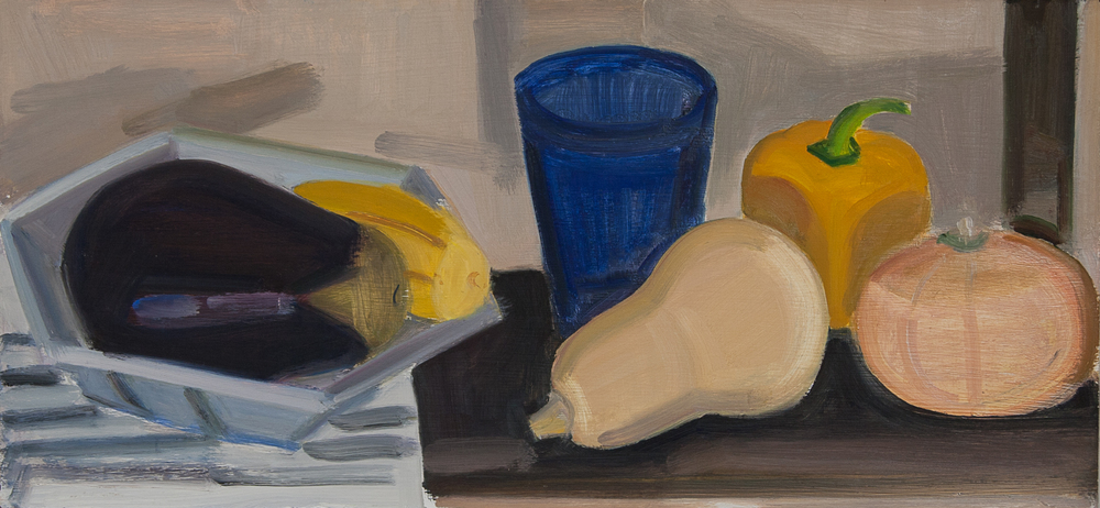 "Pie Tin, Eggplant, Blue Glass, oil on panel, 9""x14"""
