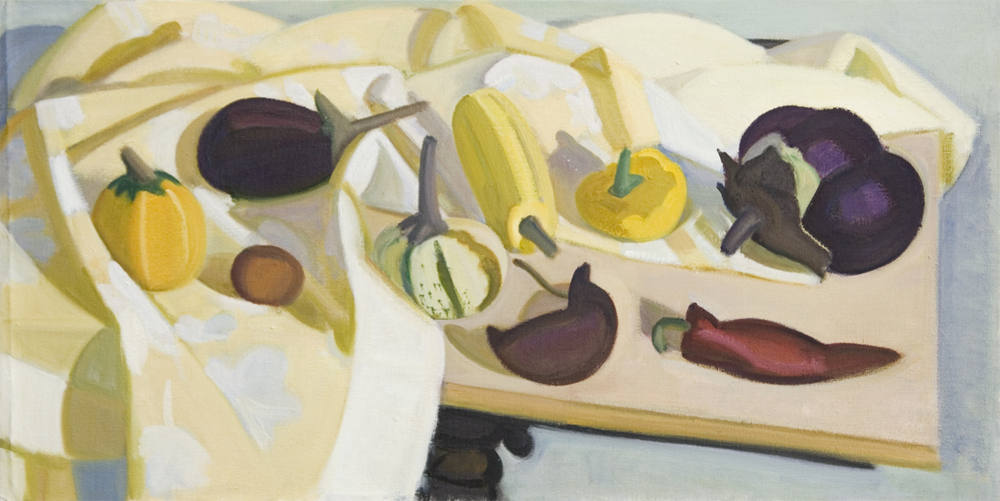 "A Lot of Squash and Eggplant, One Huge, oil on canvas, 16""x32"""