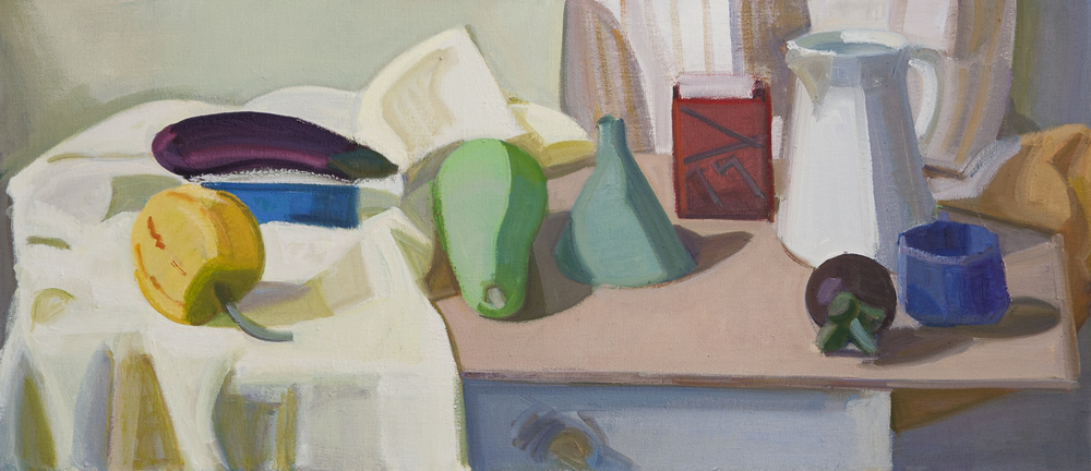 "Blue Box, Red Box and Sugar Bowl, oil on canvas, 16""x36"""
