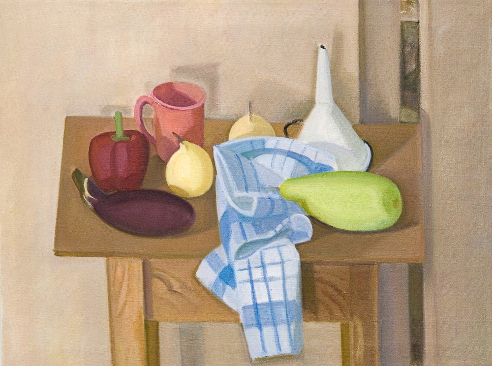"Bottle Gourd, Funnel and Striped Cloth, oil on canvas, 21""x28"""