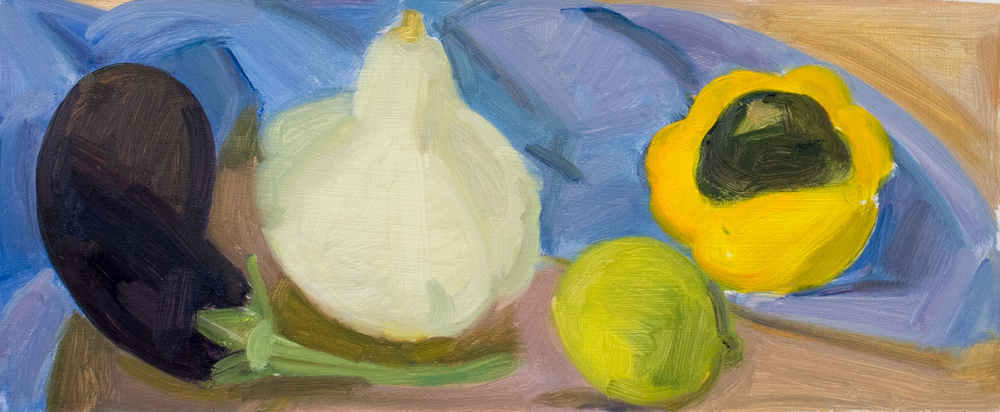 "Eggplant, Squash and Lime, oil on panel, 5"" x 12"""