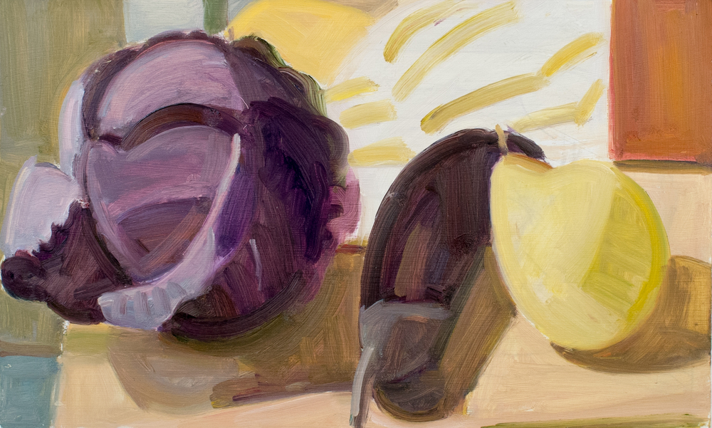 "Red Cabbage, Chinese Apple and Red Box, oil on panel, 8"" x 13"""
