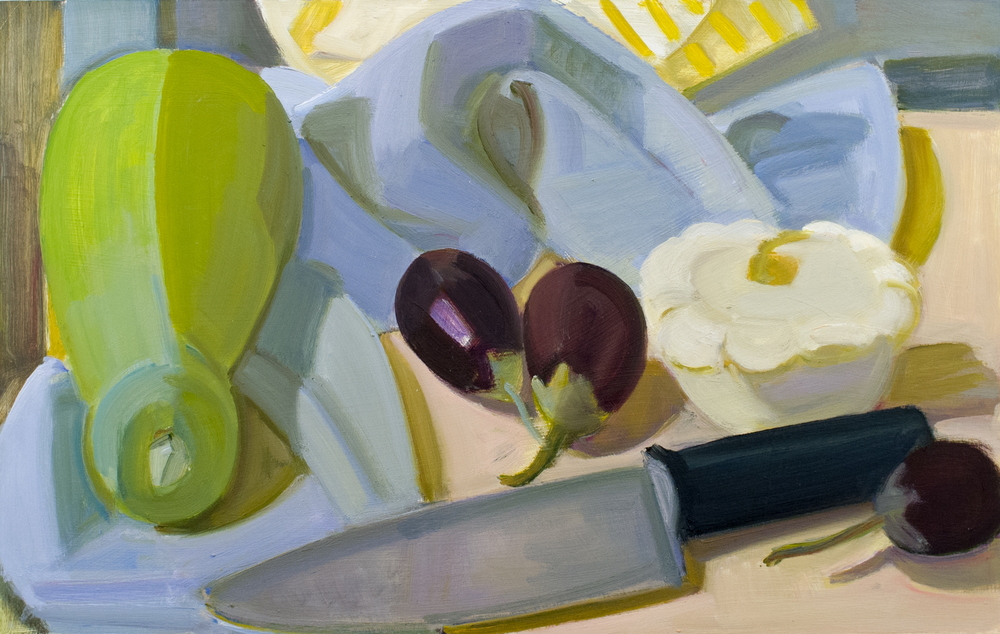 "Bottle Gourd, Eggplants, White Pattypan with Knife, oil on panel, 10"" x 16"""