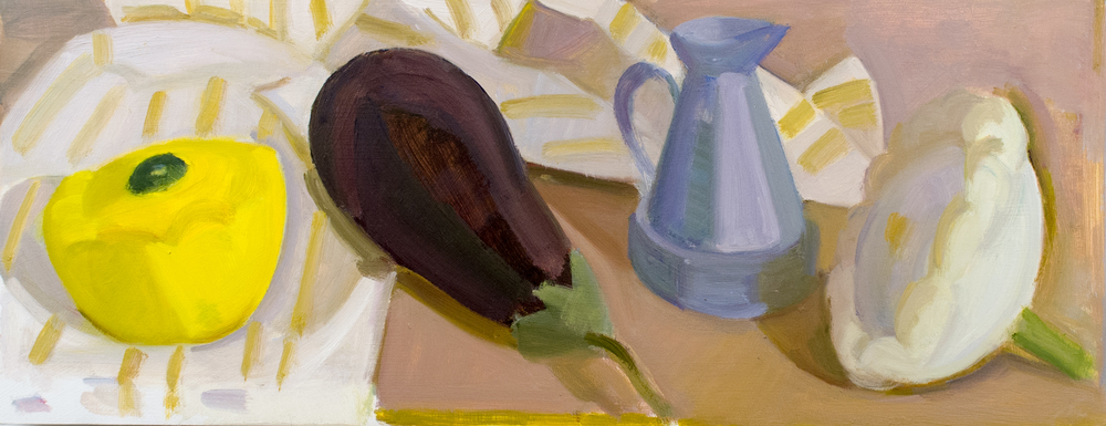 "Summer Squash and Indian Measuring Pitcher, oil on panel, 7"" x 18"""