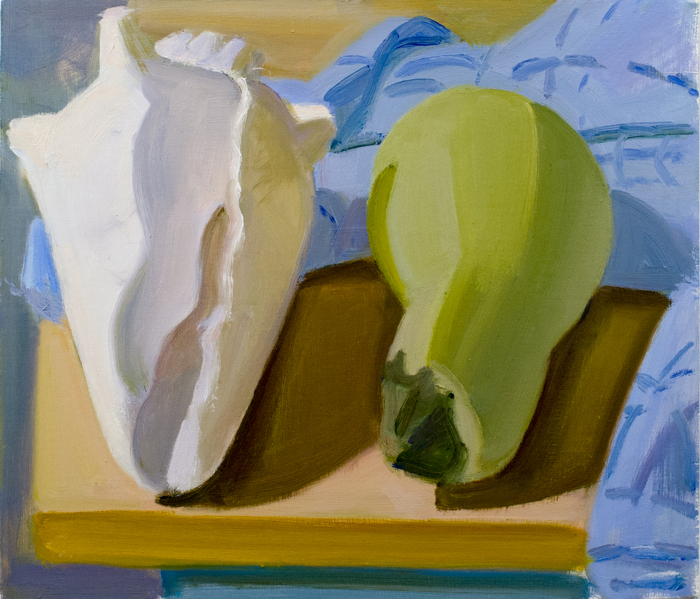 "Shell and Bottle Gourd with Blue Towel, oil on panel, 10"" x 11"""