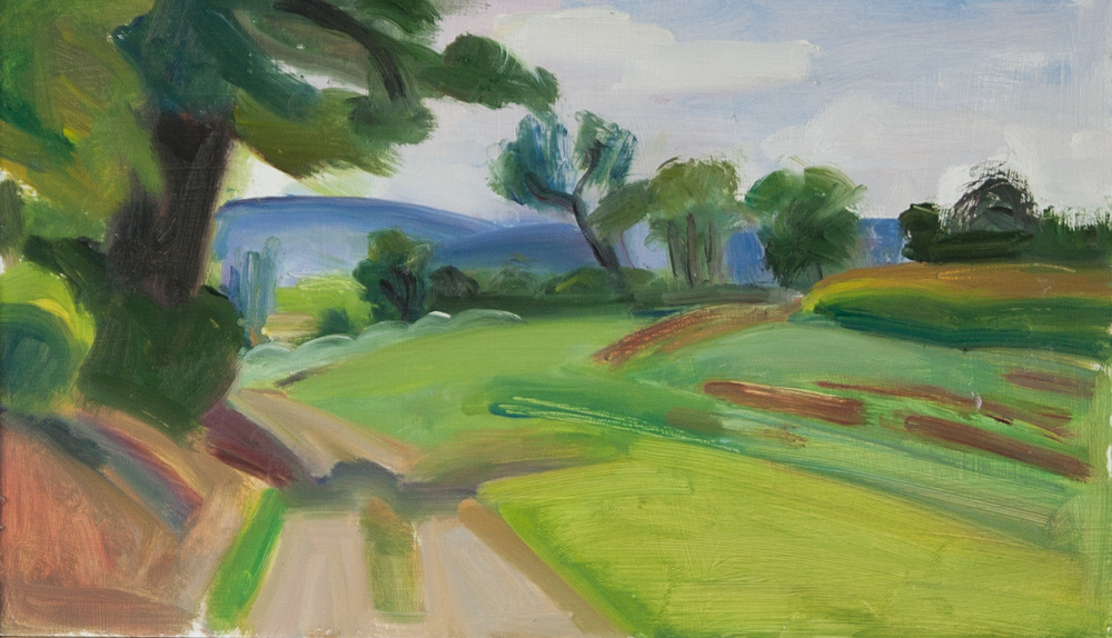 "Ott's Farm Road, oil on panel, 7"" x 12"""