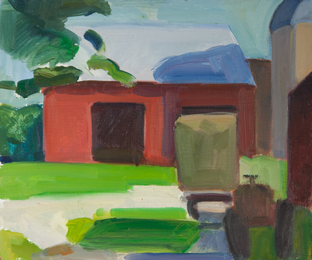 "Rydel Farm Barn and Tractor, oil on panel, 10"" x 12"""