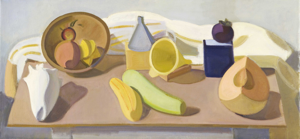 "Shell with Bottle Gourd and Split Cabocha, oil on canvas, 17"" x 36"""