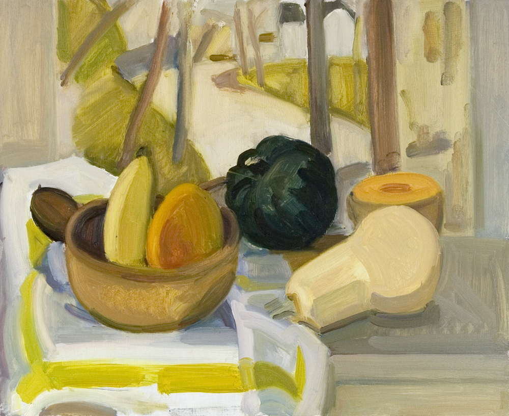 "Summer Still Life with Lois Landscape, oil on panel, 13""x16"""