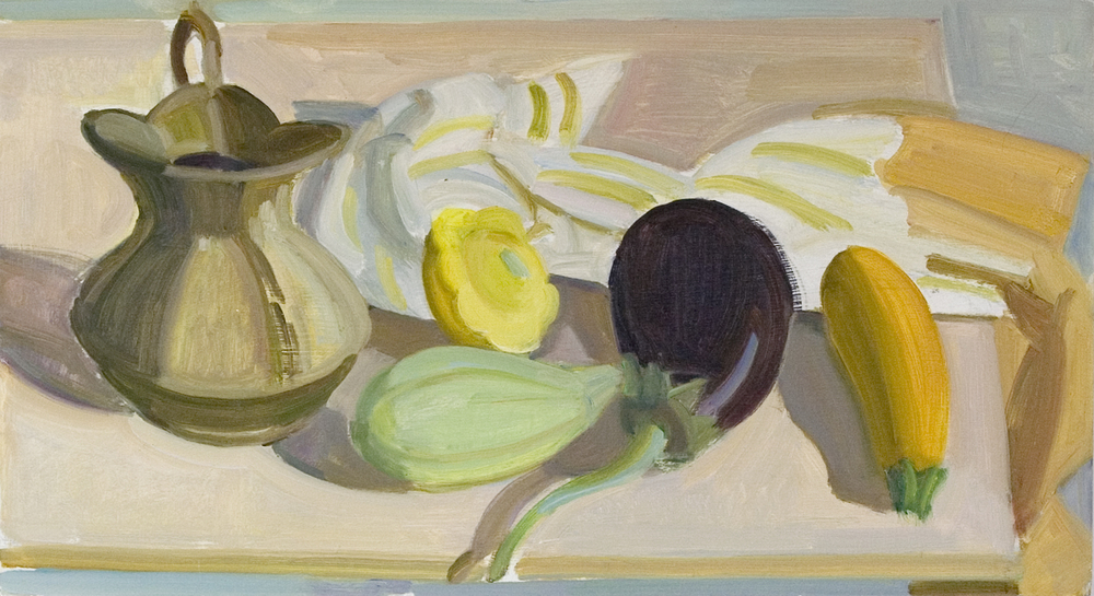 "Brass Pitcher, Pattypan, Yellow Squash with Eggplant, oil on panel, 10"" x 18"""