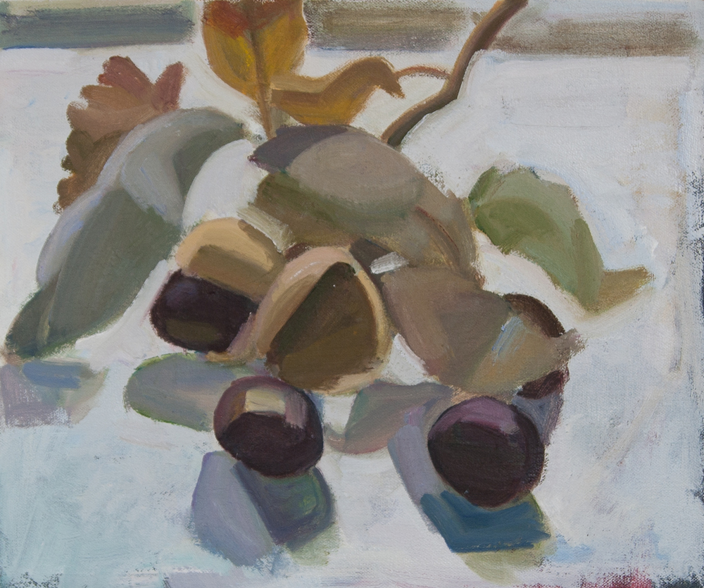 "Chestnut Branch, oil on canvas, 10"" x 12"""