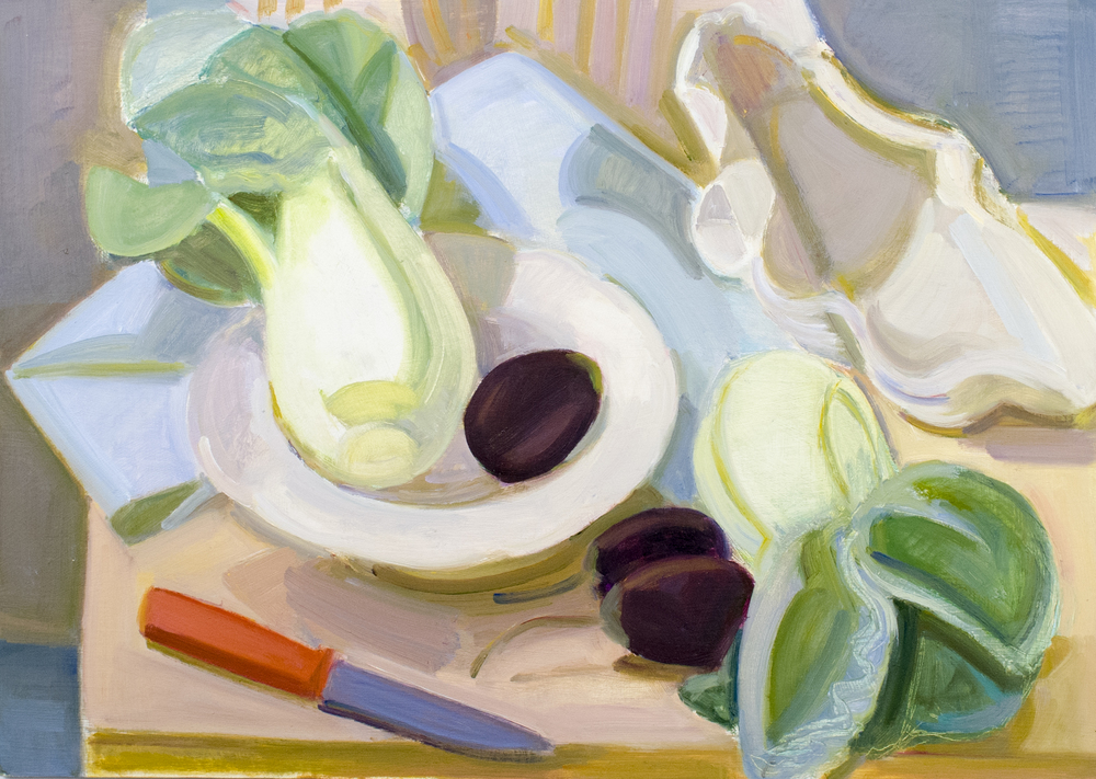 "Bok Choy, Shell, Eggplants, oil on panel, 13"" x 18"""