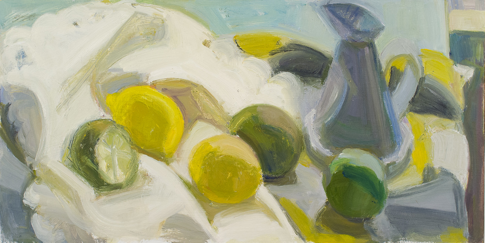 "Lemons and Limes with My Mother's Dish Towel, oil on panel, 8"" x 16"""