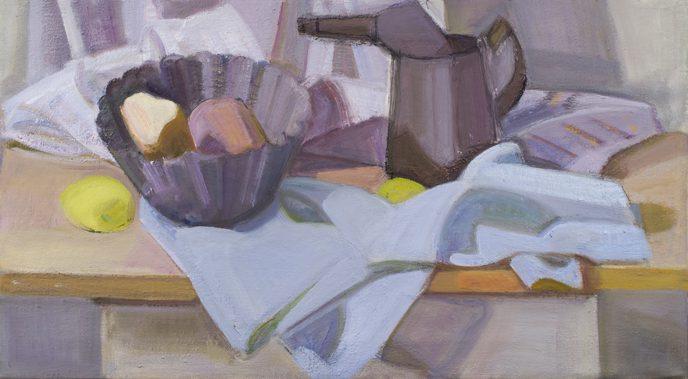 "Oil Can and Pudding Mold, oil on canvas, 15"" x 27"""