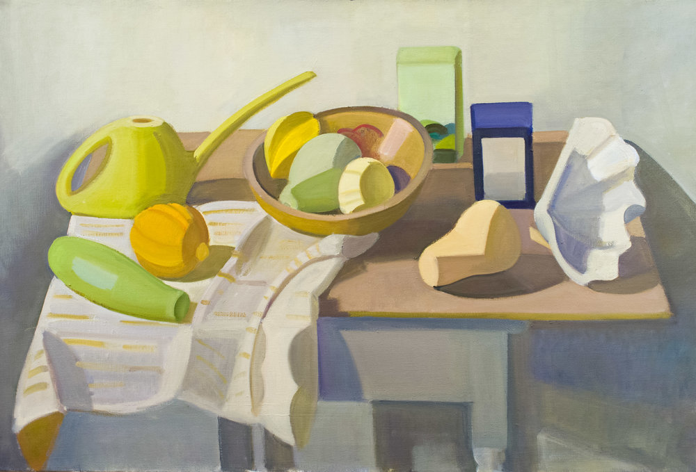 "Watering Can and Tea Boxes with Squash and Shell, oil on canvas, 25"" x 37"""