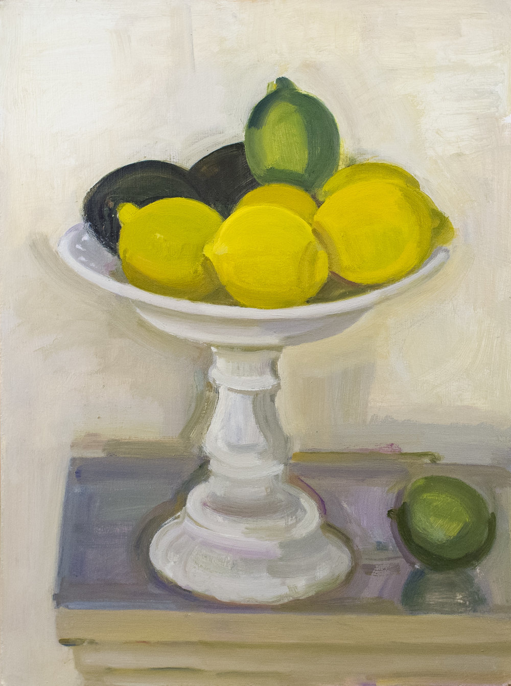 "Lemons, Lime, Avocado-Milk Glass Cake Stand, oil on panel, 16""x12"", 2017"
