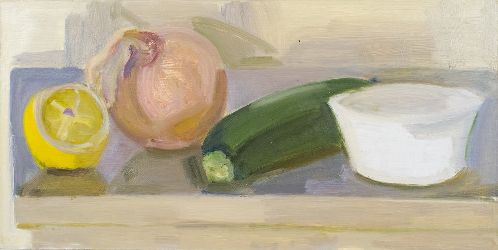 "Half Lemon, Onion, Squash and Ramekin, oil on panel, 6"" x 12"", 2018"