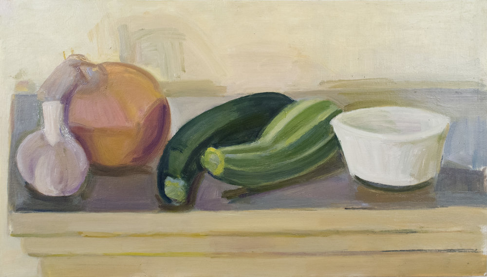 "Garlic, Onion, Zucchini and Tiger Squash with Ramekin, oil on panel, 9"" x 16"", 2018"