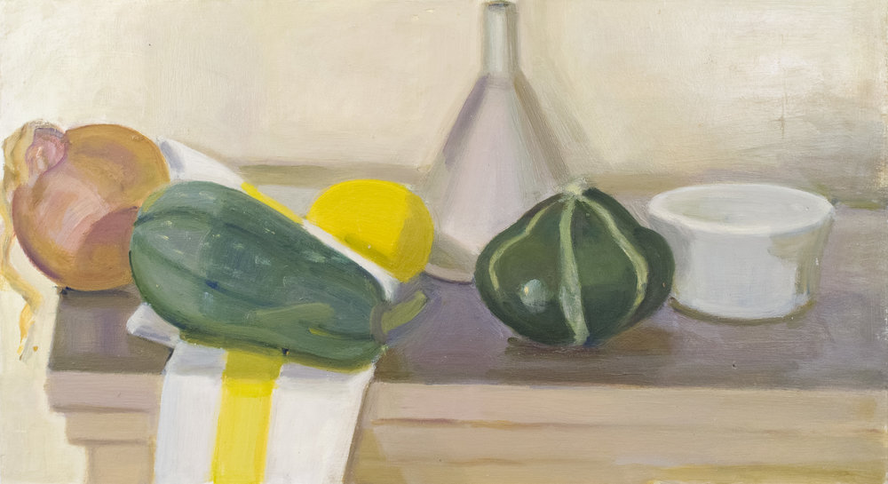 "Onion, Tiger Squash, Lemon, Funnel and Yellow-striped Napkin, oil on panel, 10"" x 18"", 2018"
