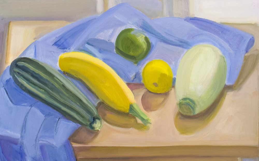 "Blue Pillow Case with Squash, Lemon and Lime, oil on panel, 10"" x 16"", 2016"