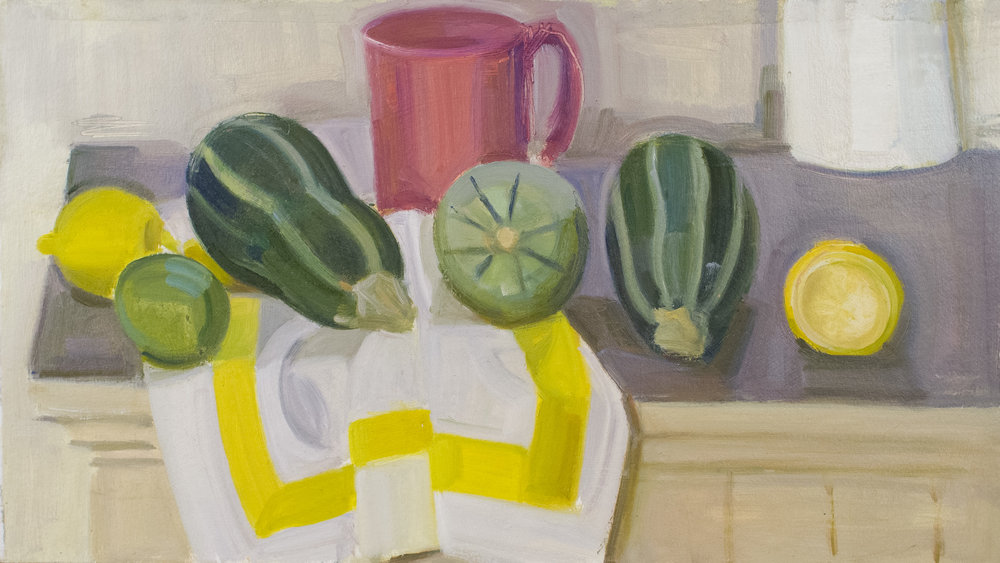 "Pink Cup, Tiger Squash, Lemons and Yellow Striped Napkin, oil on panel, 11"" x 20"", 2017"