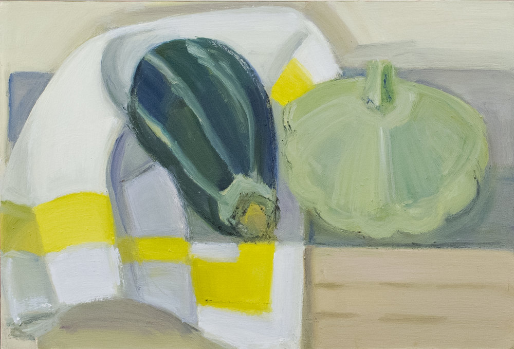 "Tiger and White Pattypan Squash, oil on panel, 7"" x 12"", 2017"