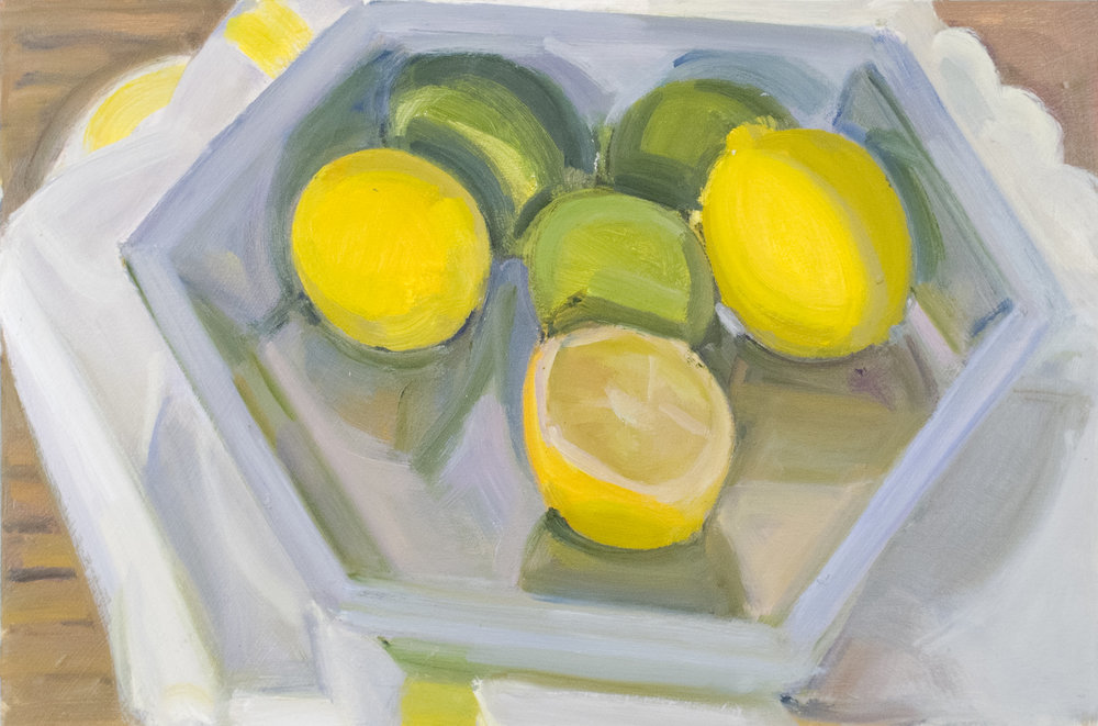 "Lemons and Limes in Pie Pan, oil on panel, 8"" x 12"""
