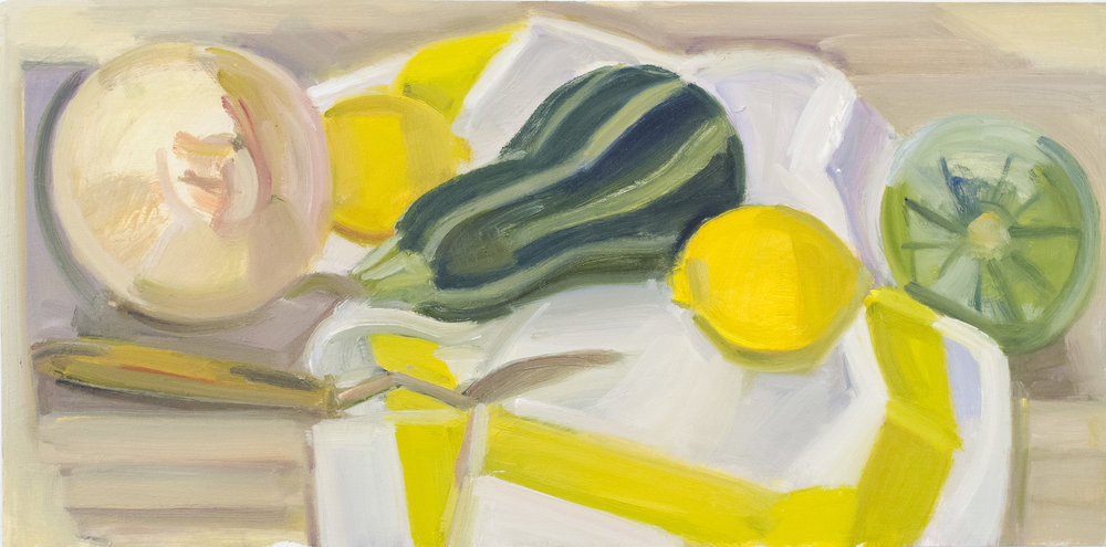 "Tiger Squash, Onion and Striped Napkin with Palette Knife, oil on panel, 8"" x 16"""