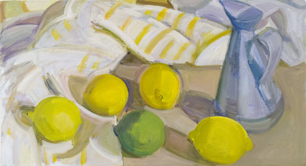"Lemons, Lime, Oil Can and Striped Cloth, oil on panel, 10"" x 18"""