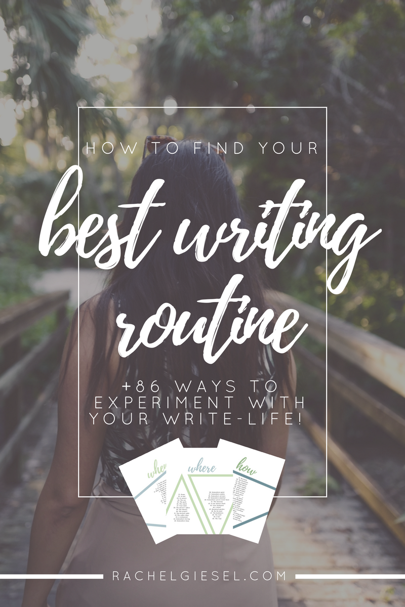 Your writing routine is composed of four ingredients: your  when , your  where,  your  how,  and your  how much . You may already have an idea of how these ingredients are functioning (or not functioning) in your writing life, but we don't want to just pick some aimlessly and assume its perfect for us, because there isn't a one-size-fits-all approach to your writing life. You've got to figure out the  best  routine for  you,  which is different from me and every other writer. I've got 86 ways you can experiment with your writing life to discover your own best writing routine.