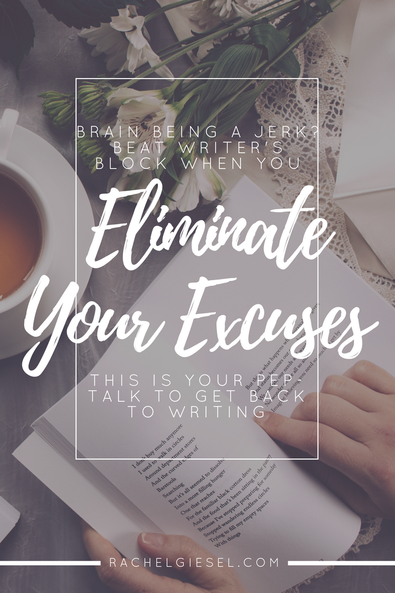 "Are you making excuses to put off your writing? Are you saying things like, ""I'm too tired / too busy / too hungover / don't know what to write?"" Well, quit it. Excuses like that are not doing anybody any good. Beat those negative thoughts and beat writer's block once and for all."